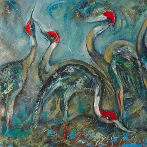 Dina Cambodian Painter Sarus Cranes wading in shallow water Tonle Sap lake Cambodia