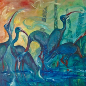 Sarus Cranes wade in the water Tonle Sap Lake Cambodia Painted by Dina Chhan