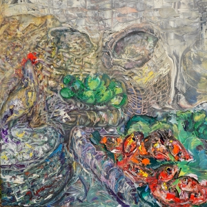 Dina Chhan Cambodian Painter Fish Trap oil on Canvas