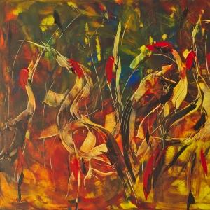 Dina Chhan Cambodian Painter Sarus Cranes Tonle Sap Northern Cambodian Lake