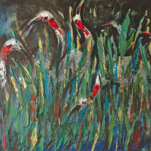 Cranes at Night on the Tonle Sap Lake Cambodia Dina Chhan Female Painter