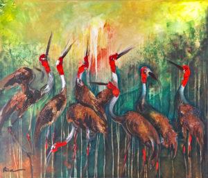 Sarus Cranes Cambodia Tonle Sap Cambodian Artist Painter Dina Chhan