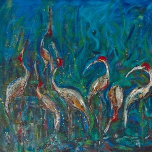 Cranes on the Tonle Sap Lake Cambodia by Cambodian Painter and sculptor Dina Chhan