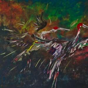 Sarus Cranes flying towards sunset at dusk painted by Dina Chhan Cambodian painter