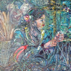 Dina Chhan Cambodian Painting - Fish Wife